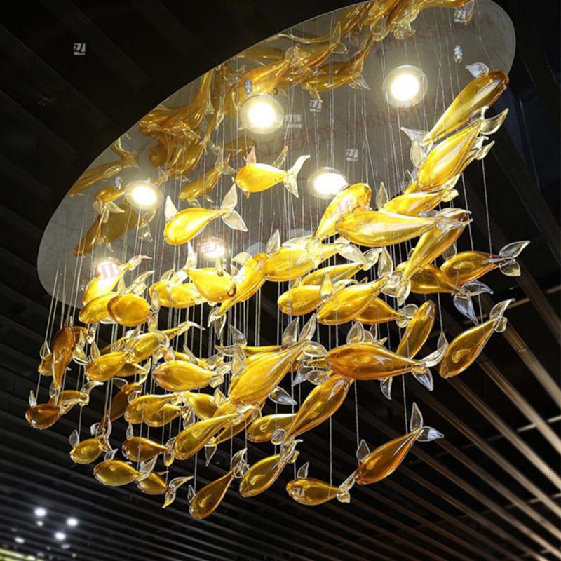 琉璃玻璃鱼吊线灯